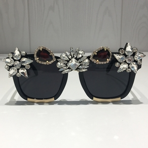 Image 2 - Custom made Crystal Luxury Sunglasses Women Bling Rhinestone Oversize Square Sunglasses Brand glasses Vintage Shades Ladies