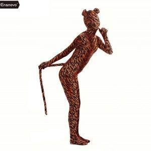 Image 3 - Ensnovo Spandex kaplan kostüm Cosplay Zentai Zebra leopar Bodysuit Unitard giyisi streç naylon tam vücut hayvan kostümleri
