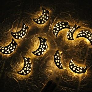 Image 5 - ديكور إسلامي لأعياد رمضان 10/20 مصباح أوتار LED نجمة القمر الذهبي ديكور المنزل فانوس للإسلام ديكور حفلات المسلمين هدية