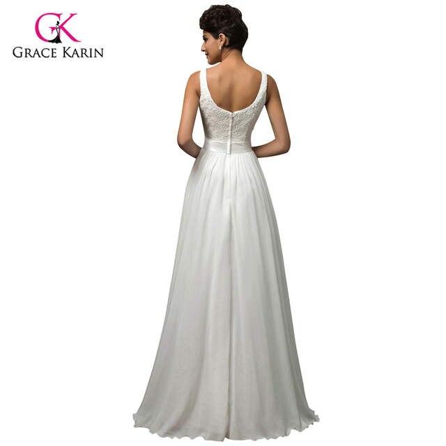 Online Shop Beach White Wedding Dresses 2018 Grace Karin Chiffon Low