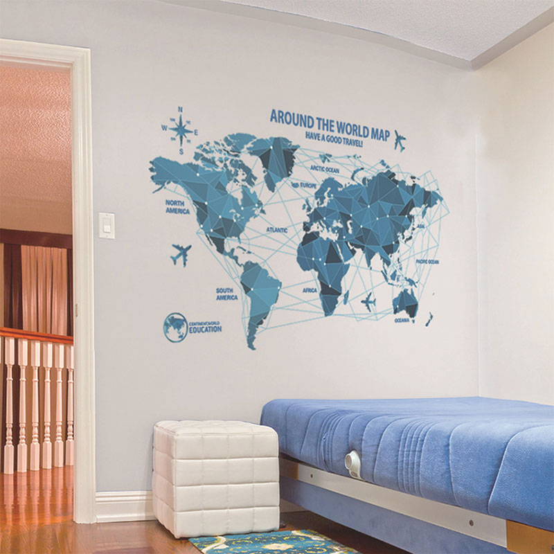Aliexpress.com : Buy Vinyl Science And Technology World Map Wall  Decorations Living Room Roomsticker Bedroom Wall Art Room Furniture Wall  Sticker From ...