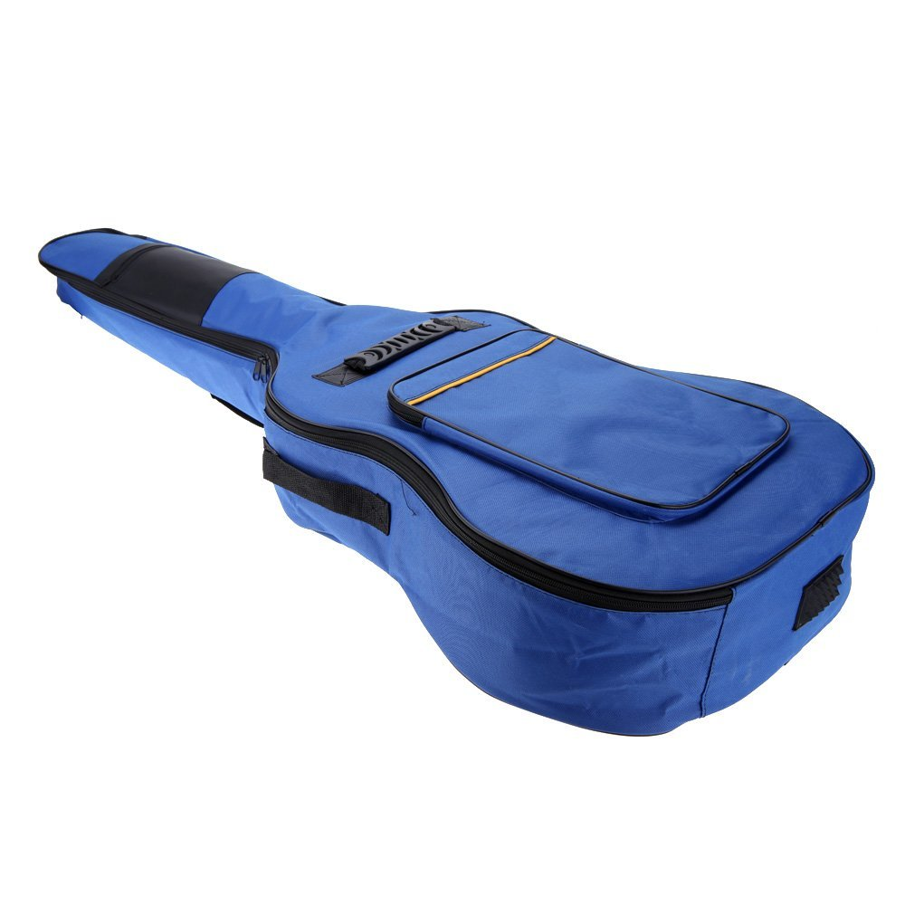2 PCS of (41 Guitar Backpack Shoulder Straps Pockets 5mm Cotton Padded Gig Bag Case blue) 40 41inch acoustic classical guitar bag case backpack adjustable shoulder strap portable 4mm thicken padded black