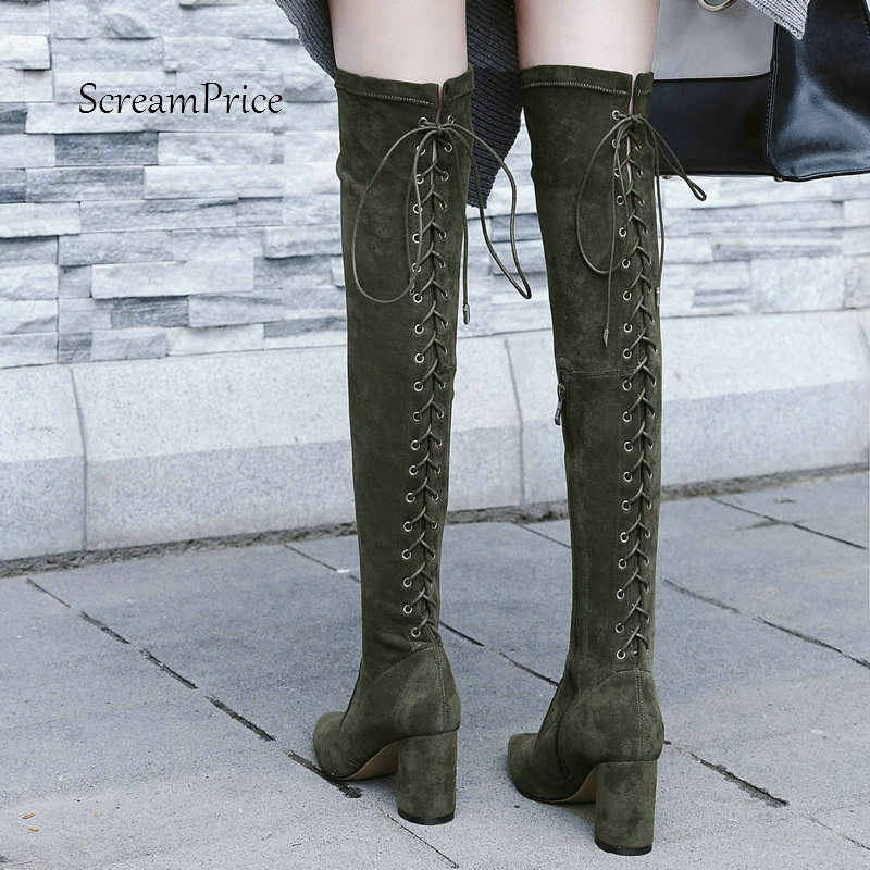 Woman Square High Heel Zipper Suede Over The Knee Boots Fashion Pointed Toe Stretch Boots Ladies Thigh Boots Black