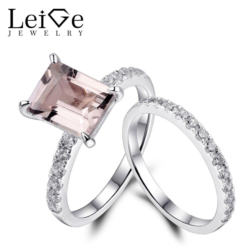 Leige bijoux Morganite anneau naturel rose pierre gemme émeraude coupe 925 argent mariage promesse anneaux ensemble pour les femmes cadeau d'anniversaire