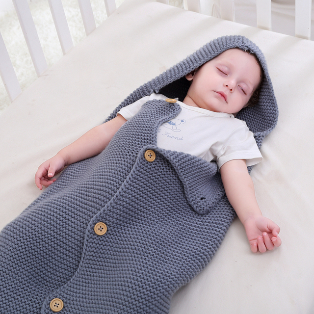 6545b958b Newborn Baby Wrap Swaddle Blanket Kids Toddler Wool Knit Hooded ...