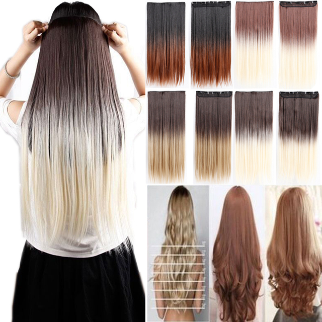 63cm 25inch 1pc ombre cheap clip in hair extensions two tones 63cm 25inch 1pc ombre cheap clip in hair extensions two tones natural hairpiece synthetic hair extension pmusecretfo Images