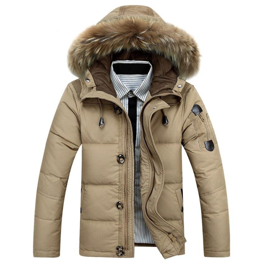 Heißer Verkauf 2018 Neue Männer unten jacke Winter Dicke Warme Mode Patchwork Männer der Pelz kragen Mit Kapuze Männer Weiße ente unten Mantel ZL120