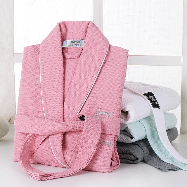 Hot new Ultrafine albornoces de algodón 100% pila de lazo de manga larga ropa de dormir bata amantes albornoz