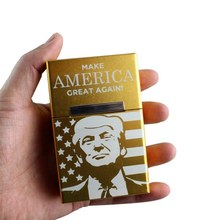 2019 1PC Trump Smoking Cigarettes Aluminum Cigarette Case Cigar Pocket Storage Gift Car Ornaments(China)