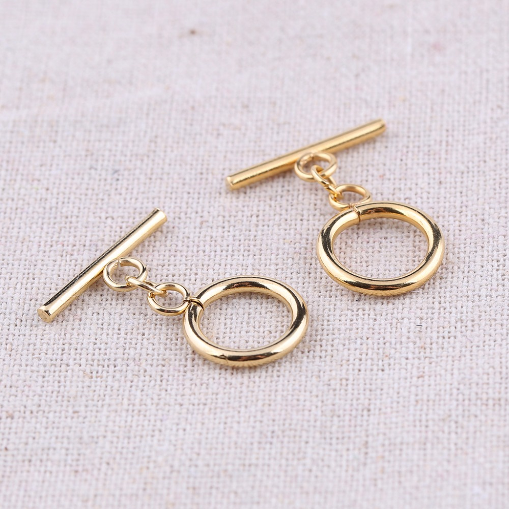 onwear 10sets stainless steel gold plated toggle clasp hooks for bracelets making diy jewelry findings