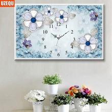 Wall Clock 3D DIY Diamond Painting Cross Stitch Butterfly Full Embroidery and Watch Mosaic Rhinestone
