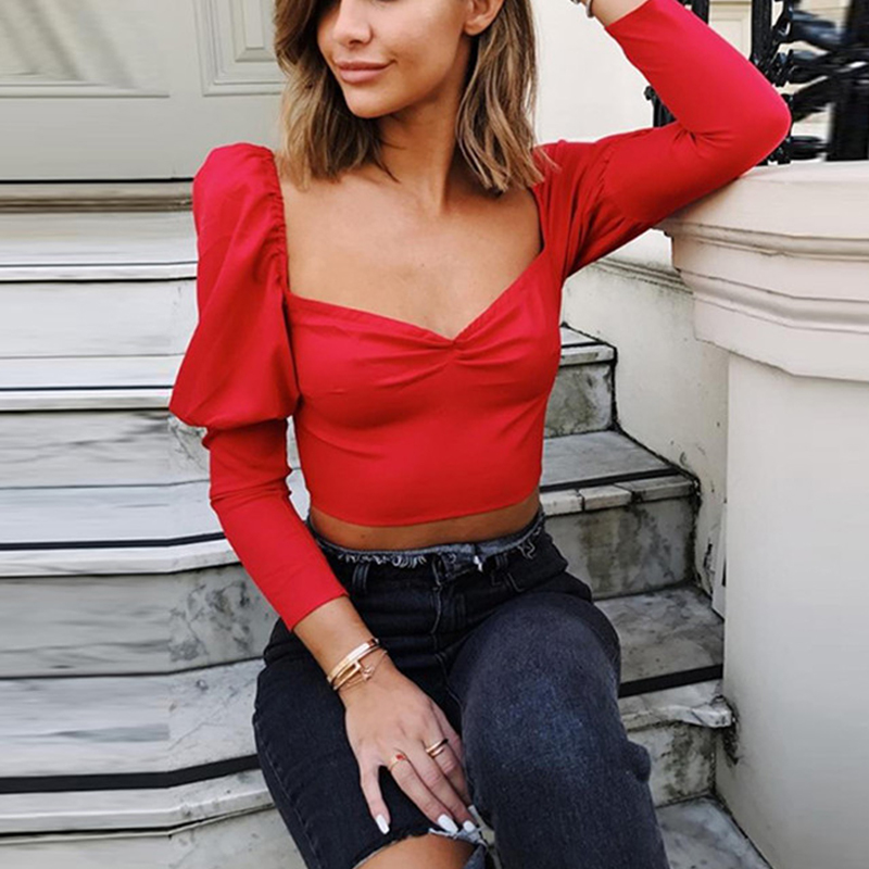 Summer Slim elegant   shirt   women 2018 Spring Square neck puff sleeve sexy Womens short   shirts     blouse   female   blouse     shirt   top