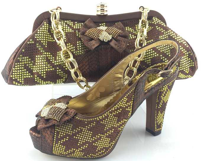 ФОТО Brown Color Fashion Matching African Shoes And Bag Set Woman Pumps Shoes With Bag Set To Match For Party ME3328