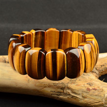 купить Genuine Natural Yellow Tiger Eye Bracelet Bangles 22x10mm Women Men Stretch Crystal Rectangle Beads Gemstone Stone AAAAA по цене 1643.26 рублей