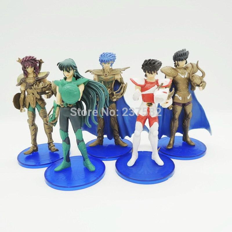 5PCS/Set 12cm PVC Action Figures Saint Seiya Myth Cloth Knights of The Zodiac Pegasus Dolls for Kid Christamas Gift