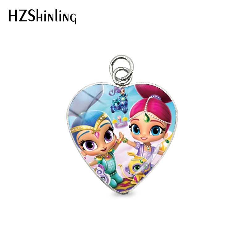 2019 New Arrival Shimmer and Shine Heart Pendants Anime Glass Dome Art Photo Pendant Jewelry for Girls Gift Accessories