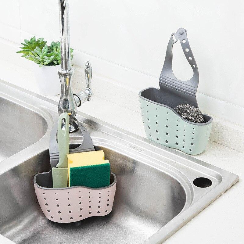 Double Layer Kitchen Organizer Sponge Storage Hanging Basket Drainer Kitchen Adjustable Sink Basket Hanging Kitchen Holder