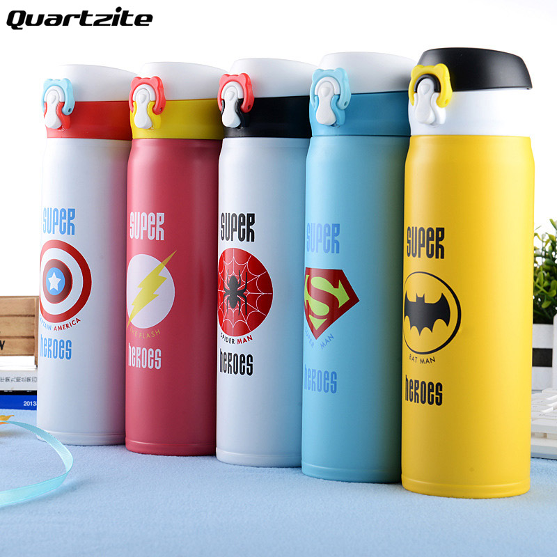 Super Heroes 350ml 500ml Vacuum bottle Thermal Insulated Tumbler Travel Water bottle Lovely couple portable hot