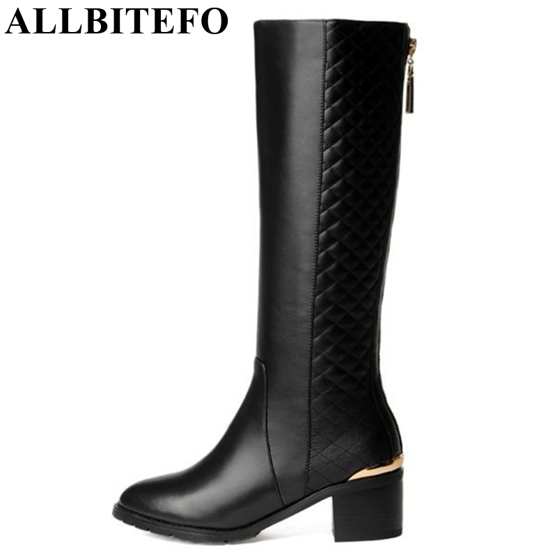 ALLBITEFO Golden zip decorate fashion spring winter snow shoes genuine leather +PU women boots casual knee high boots,size 33-43 allbitefo golden zip decorate fashion spring winter snow shoes genuine leather pu women boots casual knee high boots size 33 43