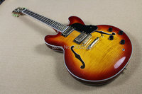 Custom Shop Double tiger striped maple top,1960 Vintage sunburst ES 335 semi hollow jazz guitar,Eric Clapton ES 335
