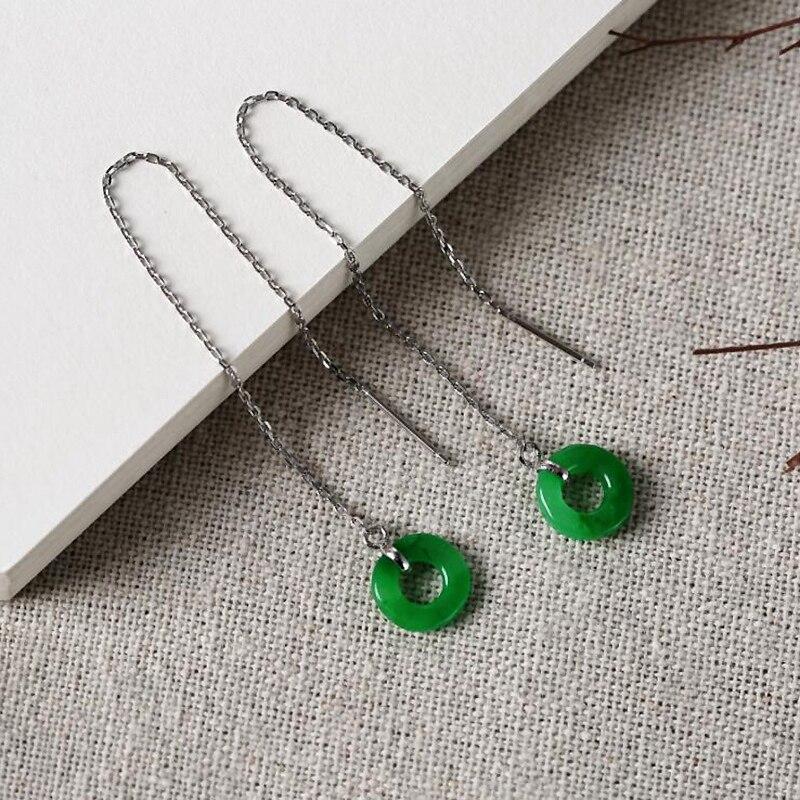 все цены на Ruifan Lucky Jewelry Green Round Jade Drop Earrings for Women 925 Sterling Silver Tassel Threader Earrings Minimalism YEA229