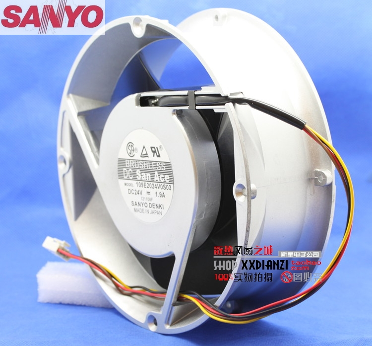 SANYO 109E2024V0S03 20070 20cm 200mm Round DC 24V 1.9A gale aluminum frame cooling fan sanyo 9wf0624h404 6025 24v 0 15a waterproof axial cooling fan