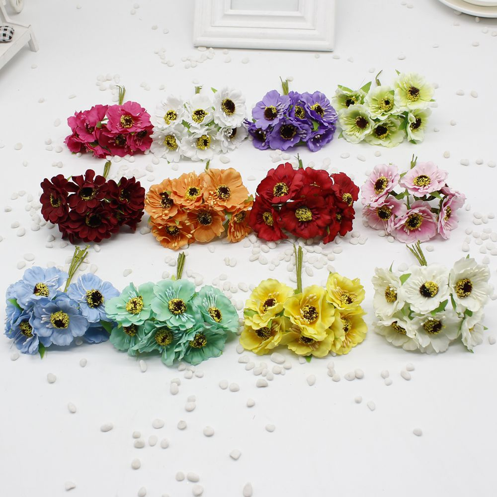 60 Pcs Lot 14 Colors Silk Cherry Flowers Small Artificial Poppy