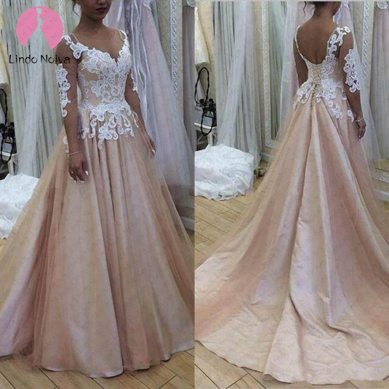 Champagne Lace Wedding Gown: Vintage Lace Champagne Boho Wedding Dresses A Line 2019