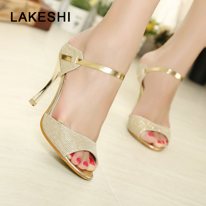 цены LAKESHI Summer Women Pumps Small Heels Wedding Shoes Gold Silver Stiletto High Heels Peep Toe Women Heel Sandals Ladies Shoes