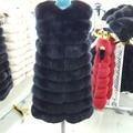 Fashion Winter Real Fur Vest 90cm Long Real Fox Fur Coats Woman Fox Fur Coat Female  Genuine the Fox Fur Jackets free delivery