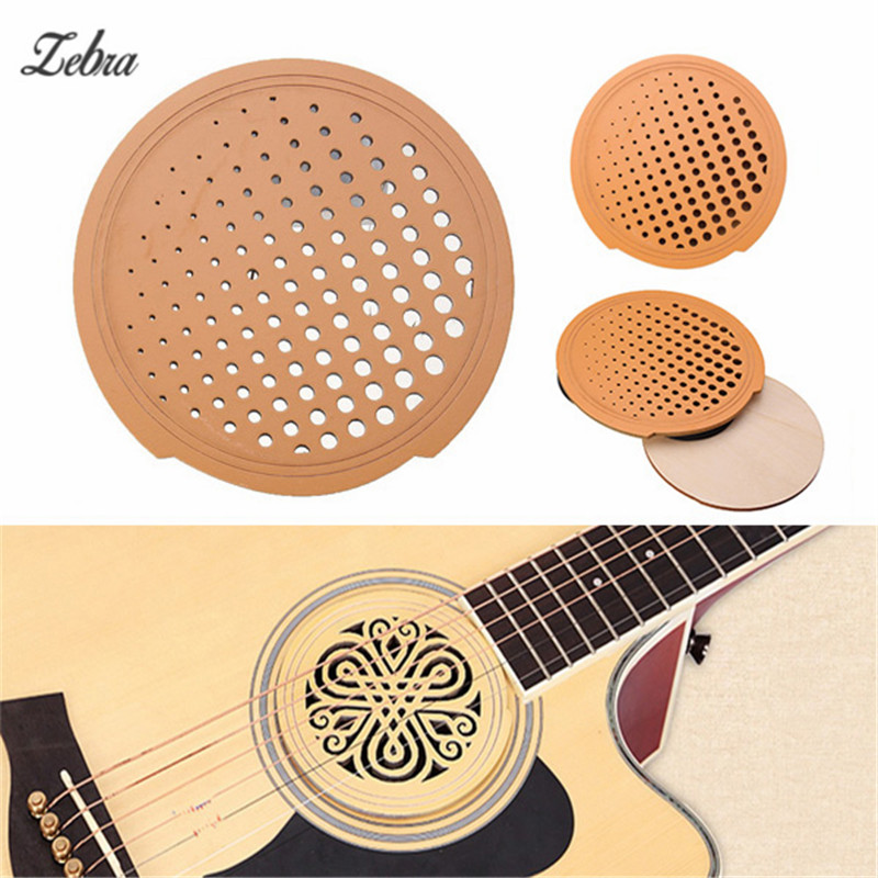 Zebra Solid Wood Guitar Sound Hole Cover Anti-whistle Mute Electric Box Fits Most Standard Dreadnought Acoustic Guitars sg standard full face guitar pickguard scratch plate zebra stripe with screws