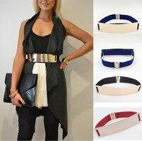 HRM Belts Elastic Mirror Metal Waist Belt Leather Metallic Bling Gold Plate Wide Belt For Women