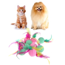 10Pcs Colorful Pet Dog Cat Toy Latex Balls Puppies Kitten Feathered Chew Cachorro Soft Elastic Ball Machine Toys