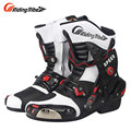 RidingTribe Road Riding Boots Motocross Motorcycle Shoes Motorbike Racing Boots Riding Protection Gear White