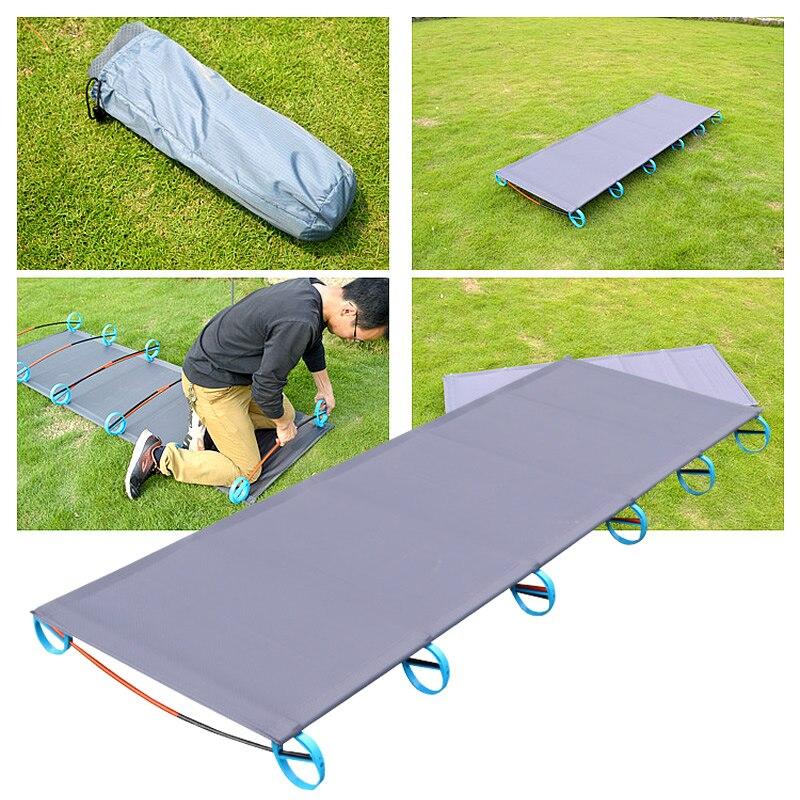 Lit Pliant extérieur 200 kg Roulement Super Léger Lit Portable Facile à Installer Mobile Pliante Bonne Expérience de Camp En Plein Air Randonnée Lit
