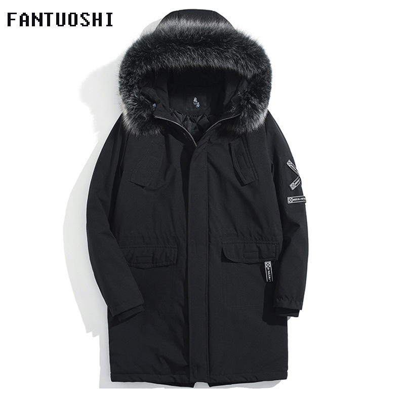 2018 New   parka   men winter long jacket cotton thick male high quality Casual fashion Warm   parkas   cotton coat men brand clothing