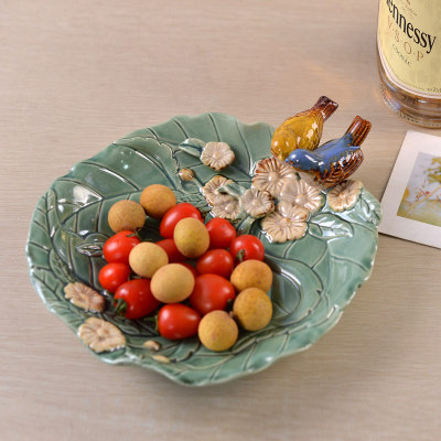 Modern ceramic bird dried fruit plate serving tray Living room fruit plate Key jewelry storage plate ornaments handicrafts