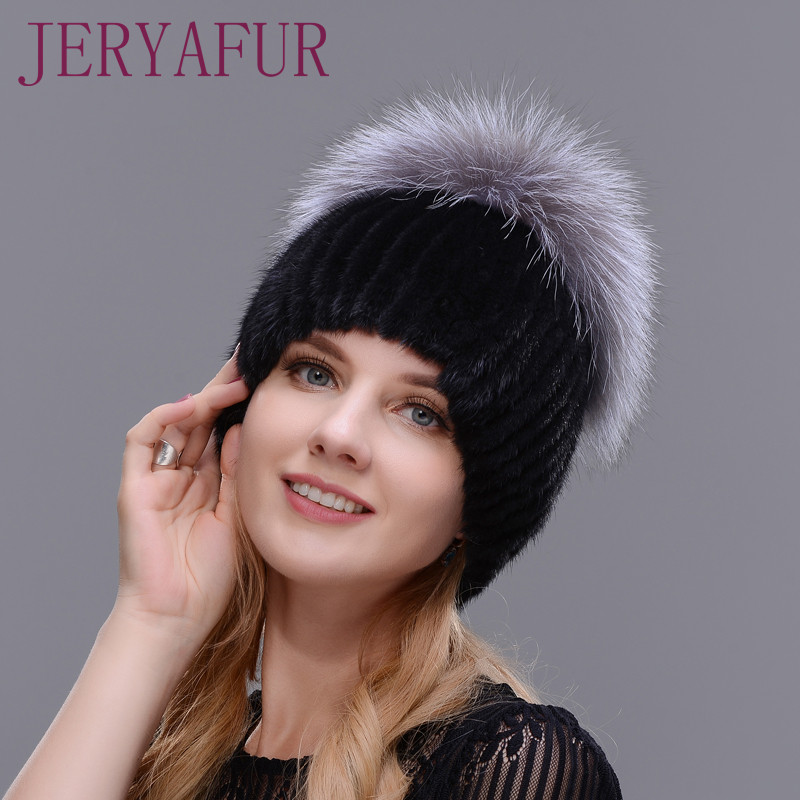 New Style Winter Hat Real Female Mink Fur Hat For Women Knitted Mink Fox Fur Cap Female Ear Warm Hat Cap Silver Fox Part Less