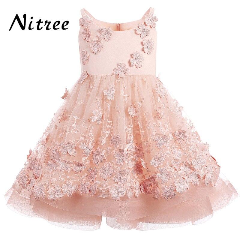 2017 Fancy Pink Flower Girl Dresses For Weddings Ball Gown Kids Prom ...
