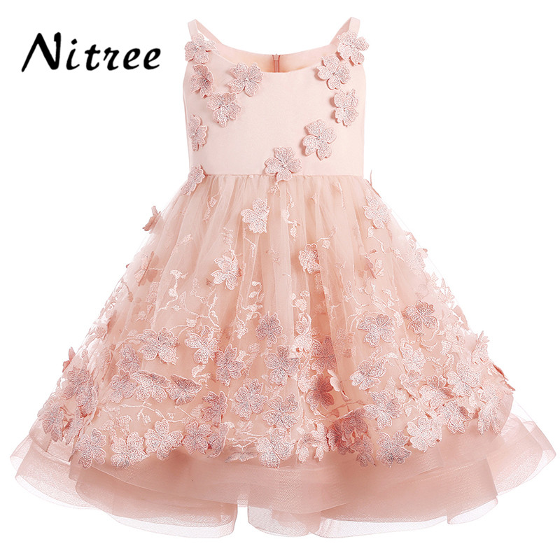 2017 Fancy Pink   Flower     Girl     Dresses   For Weddings Ball Gown Kids Prom Gowns First Communion   Dresses   For   Girls   2018 Pageant Gowns