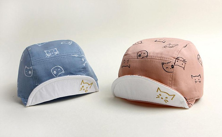 Cat Face Baby's Baseball Cap - Blue and Pink Options