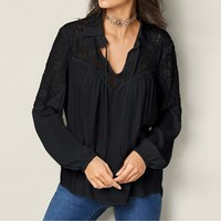 CELMIA Vrouwen Herfst OL Trui Revers Hals Effen Hol Blouse Kant Gehaakte Kant Up Shirt Baggy Top Oversized