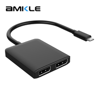 Amkle USB C HUB USB C 3.1 to DP Displayport Adapter Type C USB C Male to Dual DP Female 4K 30Hz Video Converter for Macbook Pro