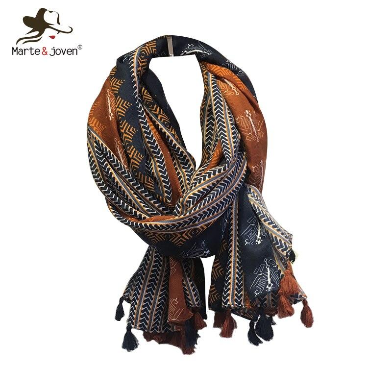 Marte&Joven Retro Geometric Printing Warm Scarf Shawls For Women Fashion Tassels Brown Long Wraps Ladies Spring Autumn Pashmina