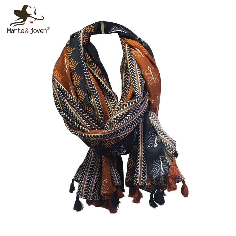 Marte&Joven Retro Geometric Printing Warm   Scarf   Shawls for Women Fashion Tassels Brown Long   Wraps   Ladies Spring Autumn Pashmina