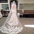Hot Selling Accessories 2016 STD  Wedding Veil  Beautiful White Ivory Lace Edge Big Lace 2.5 m Long  Bridal Veils  With Comb