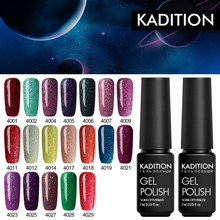 Kadition Beruntung Neon Gel Varnish Manicure Semi Permanant Top Coat 7 Ml Glitter Poly Gel Lacquer Rainbow Payet Gel cat(China)