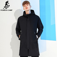 Pioneer camp Spring solid hooded long jacket coat men brand clothing casual fashion outerwear windbreaker male coat AFY803121