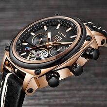 2019 ליגע גברים אופנה יוקרה שעון Tourbillon ספורט מכאני שעון קלאסי זכר שעון גברים עמיד למים אוטומטי שעון Relogio