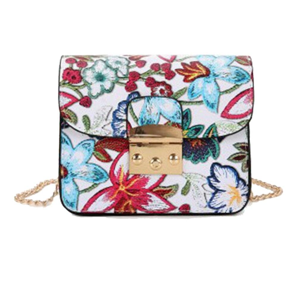 MOJOYCE Women Flower Printed Mini Chain Bag Female PU Leather Shoulder Crossbody Bag Ladies Casual Shopping Flap Bag 2018